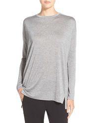 VINCE | Gray Drop Shoulder Crewneck Pullover | Lyst