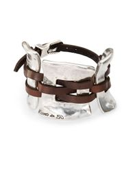 Uno De 50 Brown Silver And Leather Cuff Bracelet