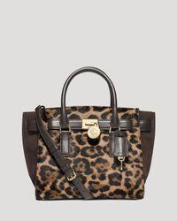 MICHAEL Michael Kors - Black Tote - Medium Hamilton Traveler Leopard Haircalf - Lyst