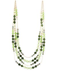 Jones New York | Gold-tone Green Bead Multi-row Necklace | Lyst