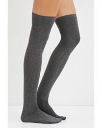 Forever 21 | Gray Cable Knit Over-the-knee Socks | Lyst