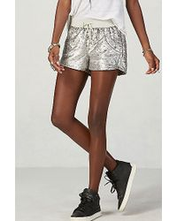 True Religion | Metallic Sequin Runner Womens Short | Lyst