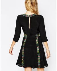 ASOS Black Boho Dress With Cross Stitch Detail
