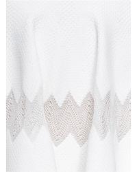 Alaïa White Scallop Edge Chevron Knit Flare Skirt