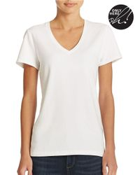Lord & Taylor | White Plus Stretch-cotton V-neck Tee | Lyst