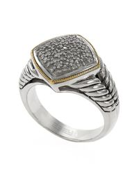 Effy | Metallic Sterling Silver 18kt Yellow Gold And Diamond Ring | Lyst