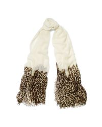 Ralph Lauren   Beige Leopard-print Wool-blend Scarf   Lyst