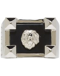 Versus - Metallic Silver And Black Lion Ring for Men - Lyst