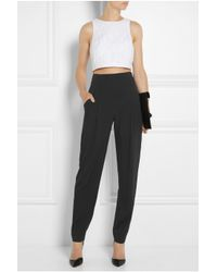 Temperley London Black Serenoa High-Rise Stretch-Silk Tapered Pants