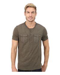 Calvin Klein Jeans - Gray Short Sleeve Henley Mix Media Garment Dye for Men - Lyst