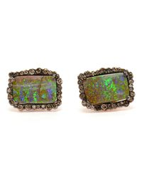 Kimberly Mcdonald Green Boulder Opal And Diamond Earrings