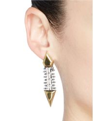 Iosselliani Metallic Zircon Pavé Brass Arrow Clip Earrings