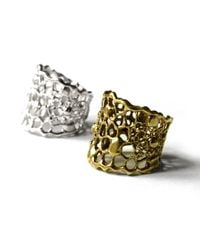 Ayaka Nishi | Metallic Gold Tapered Cell Ring | Lyst