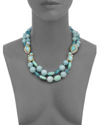 Alexis Bittar Blue Elements Gilded Muse D'Ore Amazonite & Crystal Double-Strand Necklace
