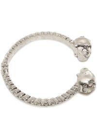 Alexander McQueen   Metallic Jewelled Twin Skull Bangle   Lyst