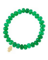 Sydney Evan | 8Mm Faceted Green Onyx Beaded Bracelet With 14K Yellow Gold/Diamond Small Disc Charm (Made To Order) | Lyst