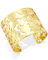 kate spade new york | Metallic 12K Gold-Plated Openwork Butterfly Cuff Bracelet | Lyst