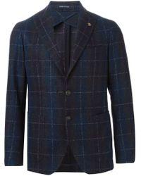 Tagliatore - Blue Checked Blazer for Men - Lyst