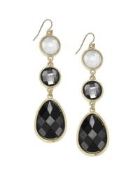 INC International Concepts Goldtone Black And White Stone Triple Drop Earrings