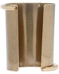 Lanvin - Metallic Brass And Crystal Asymmetric Cuff - Lyst