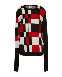 Fausto Puglisi - Black And Red Crewneck Knit Top - Lyst