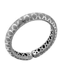 John Hardy Metallic Naga Silver Enamel Slim Flex Cuff With Gray Enamel
