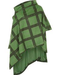 Vivienne Westwood Anglomania Green Gaia Asymmetric Checked Woolblend Felt Poncho