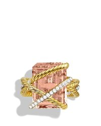 David Yurman - Yellow Cable Wrap Ring With Faceted Morganite & Diamonds In 18k Gold - Lyst