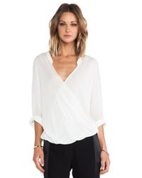 Halston White 3/4 Sleeve Drape Front Blouse