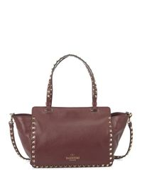 Valentino Purple Rockstud Small Bordeaux Leather Tote