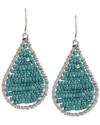 Kenneth Cole | Blue New York Silver-tone Woven Bead Teardrop Earrings | Lyst