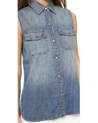 Current/Elliott | Blue The Sleeveless Perfect Shirt Miner | Lyst