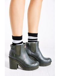 HUNTER - Green Original Block Heel Chelsea Boot - Lyst