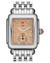 Michele - Metallic 'deco 16' Diamond Dial Watch With Bracelet - Lyst