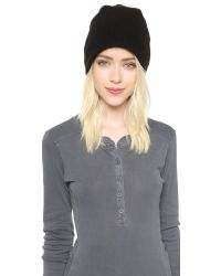 White + Warren - Cashmere Plush Rib Beanie - Black - Lyst