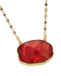 Panacea | Metallic Short Stone Pendant Necklace | Lyst
