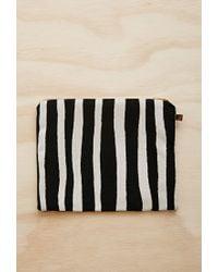 Forever 21 Black Half United Striped Zipper Pouch
