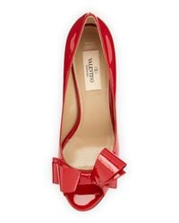 Valentino - Red Patent Bow Low-heel Pump - Lyst