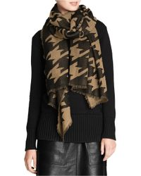 COACH Brown X Blitz Houndstooth Large Wool Scarf