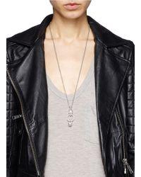 Alexander McQueen - Metallic Double Skull Ring Pendant Chain Necklace - Lyst
