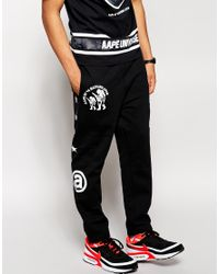 Aape Black By A Bathing Ape Joggers With Print for men