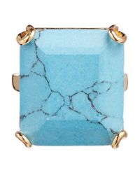 Orelia - Blue Large Square Stone Ring - Lyst