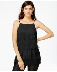 Guess | Black Sleeveless Fringed Top | Lyst