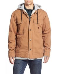 Billabong | Brown 'barlow' Hooded & Lined Canvas Workwear Jacket for Men | Lyst
