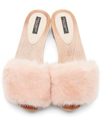 Dolce & Gabbana Pink Fur Wooden Mules