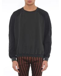 Haider Ackermann - Gray Bi-Colour Jersey And Twill Sweatshirt for Men - Lyst