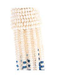 Oscar de la Renta White Ombré Tassel Clip-On Earrings