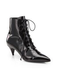 Saint Laurent - Black Cat Patent Leather Laceup Ankle Boots - Lyst