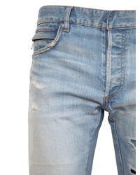 Balmain Blue Destroyed Stretch-Denim Jeans for men