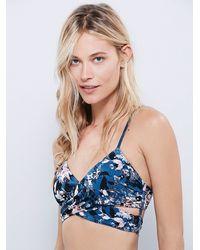 Free People - Blue Floral Patterned Bralette - Lyst